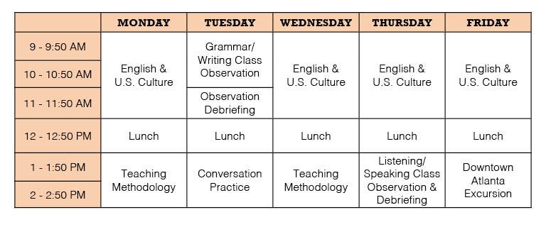 Special Program Schedule